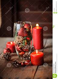 table decorations with pine cones christmas decorations and pine cones in glass vase stock image