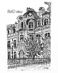 architecture ink drawing original sketch europe travel art