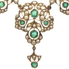 antique emerald necklace images Antique emerald pearl 14 karat yellow gold choker necklace at 1stdibs jpg