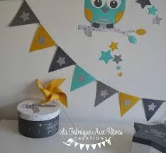 fanion deco chambre décoration chambre bébé garçon turquoise caraïbe jaune moutarde gris