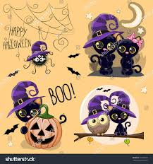set cute halloween illustrations owl black stock vector 713720278