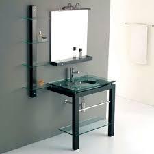 Glass Bathroom Vanity Bathroom With Glass Vanity Featured Bottom Shelf Beautiful Glass