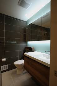 Backlit Mirror Bathroom by Backlit Mirror Bathroom Contemporary With Thick Countertop Wooden
