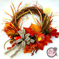 pumpkin spice wreath mackenzie childs ribbon pink clover