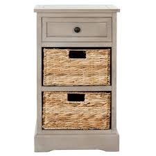 Grey Accent Table Accent Table Or Night Stand With Wicker Baskets Boxes Instead Of