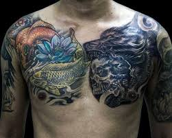 collection of 25 wolf and flower tattoos on chest