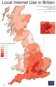 Map Of Scotland And England by Internet Use In Britain