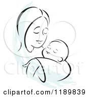 cartoon of a black and white sketch of a loving mother holding a