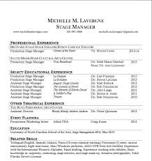 stage manager resume template free resume templates resume