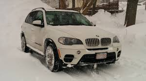 bmw jeep white bmw x5 diesel winter driving during snow storm youtube