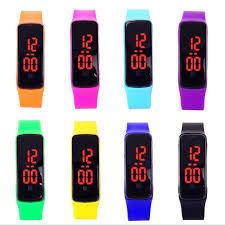 rubber bracelet watches images Fashion sport led watch candy color silicone rubber touch screen jpg