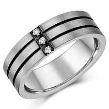 mens rings uk 7mm mens titanium three diamond two black lined grooved ring