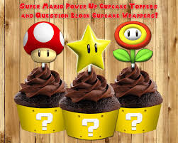 Super Mario Decorations Printable Super Mario Cupcake Toppers By Instbirthday On Zibbet