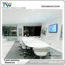 Marble Boardroom Table Artificial Marble Stone Big Round Conference Table For Office Room