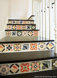 Tiles For Stairs Design Mexican Talavera Tiles Wall U0026 Furniture Stencils Royal Design