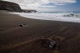 Black Sand Beaches by Black Beach Caves Ajuy Fuerteventura