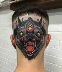 neotraditional style three eyed wolf on the back