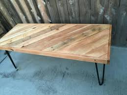 golden pecan half chevron diagonal pattern coffee table pallet