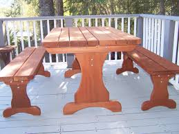 redwood trestle table set gold hill redwood products