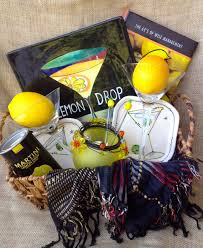 martini gift basket unique gift basket lemon drop martini yellow and by redwellgifts