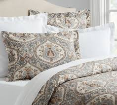 Sateen Duvet Cover King Darcy Printed Duvet Cover U0026 Sham Pottery Barn