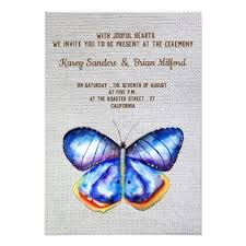blue butterfly canvas wedding invitation rustic gifts ideas