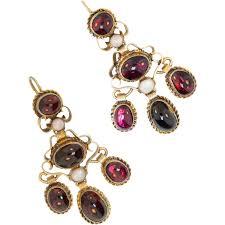 garnet earrings antique garnet earrings austro hungarian gold washed chandelier