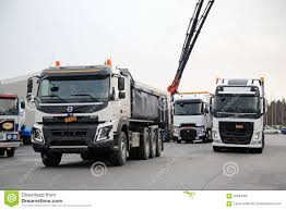 volvo heavy duty trucks volvo and renault trucks for demo drive editorial stock photo