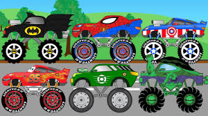 monster truck videos on youtube superheroes monster trucks for children truck garage video for