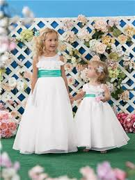 flower girl wedding line princess scoop white organza green sash wedding flower girl