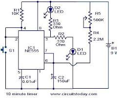 10 minute timer circuit electronic circuits and diagram