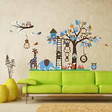 elecmotive wall decor elecmotive colorful multiple animals owls wall decor elecmotive image elecmotive colorful multiple animals owls monkeys birds elephant giraffe mushrooms trees