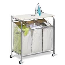 honey can do folding table rolling laundry board ironing center folding sorter combo easy move