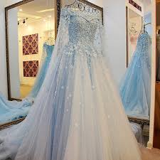 blue wedding dresses blue ivory lace lace the shoulder wedding dresses