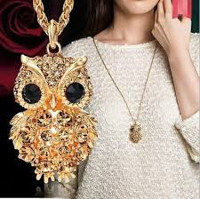 long gold owl necklace images 18k gold owl long chain necklace blue lion jewels jpg