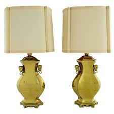 Brass Table Lamps Pair Marbro Brass Table Lamps With Elephant Heads At 1stdibs