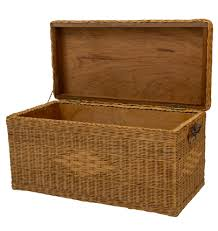 wicker basket with leather handles large wicker trunk w wood interior u0026 leather handles rejuvenation