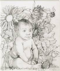 original pencil drawing of a child sitting on grass amidst a clump