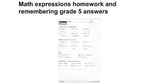 math expressions homework and remembering grade 5 answers google