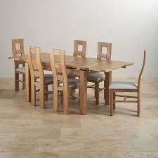 dorset dining set in oak dining table 6 grey chairs