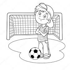 coloring page outline of a boy with a soccer ball and football g