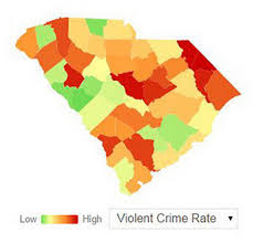 Crime Rate Map Data Which South Carolina Counties Have The Most Violent Crime