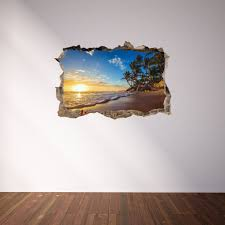 3d through wall fabric sticker wall decal paradise tropical