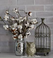 farmhouse cotton stem arrangement in mercury glass mason jar