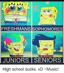 School Sucks Meme - freshman sisophomores juniors seniors high school sucks xd music