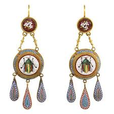 vatican jewelry antique gold scarab motif micromosaic earrings with vatican marks