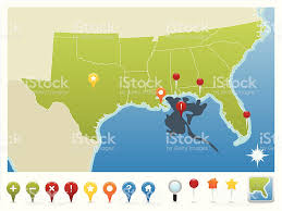 gulf of mexico oil spill map and gps icons stock vector art