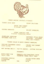 thanksgiving day menus uss holder thanksgiving day menu 1964