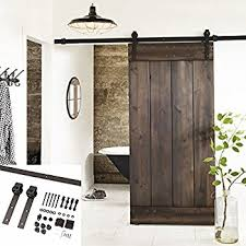 Amazon Com Tcbunny 6 6 Feet Country Steel Sliding Barn Wood Door