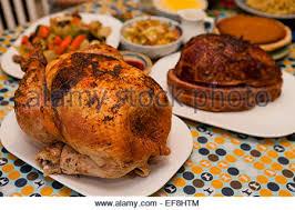 thanksgiving turkey dinner on table usa stock photo royalty